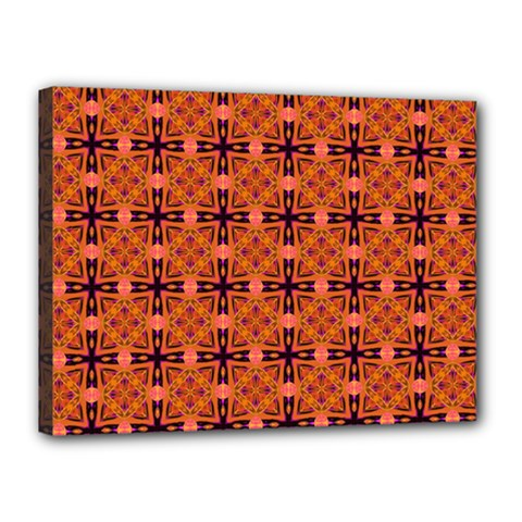 Peach Purple Abstract Moroccan Lattice Quilt Canvas 16  X 12  by DianeClancy