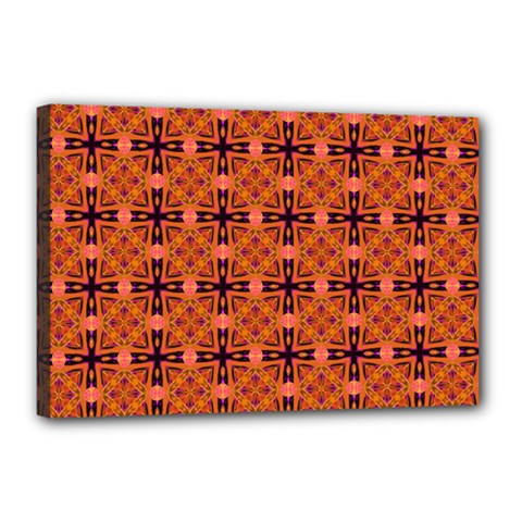 Peach Purple Abstract Moroccan Lattice Quilt Canvas 18  X 12  by DianeClancy