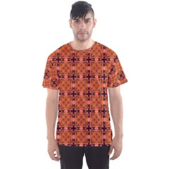 Peach Purple Abstract Moroccan Lattice Quilt Men s Sport Mesh Tee by DianeClancy