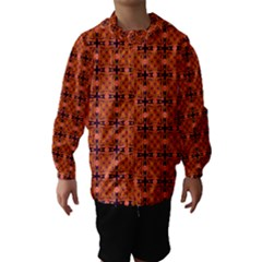 Peach Purple Abstract Moroccan Lattice Quilt Hooded Wind Breaker (kids) by DianeClancy