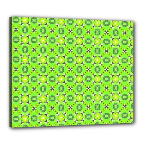 Vibrant Abstract Tropical Lime Foliage Lattice Canvas 24  X 20  by DianeClancy