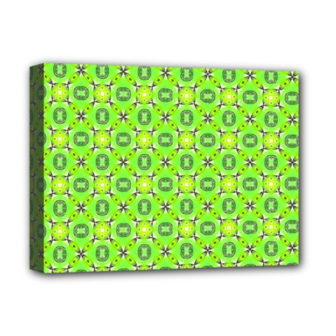 Vibrant Abstract Tropical Lime Foliage Lattice Deluxe Canvas 16  X 12   by DianeClancy