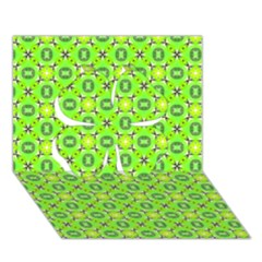 Vibrant Abstract Tropical Lime Foliage Lattice Clover 3d Greeting Card (7x5)  by DianeClancy