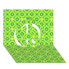 Vibrant Abstract Tropical Lime Foliage Lattice Peace Sign 3d Greeting Card (7x5)  by DianeClancy