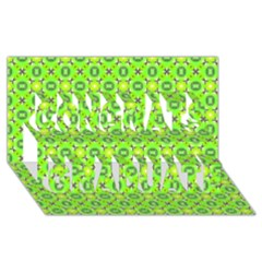 Vibrant Abstract Tropical Lime Foliage Lattice Congrats Graduate 3d Greeting Card (8x4)  by DianeClancy