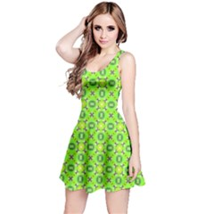 Vibrant Abstract Tropical Lime Foliage Lattice Reversible Sleeveless Dress by DianeClancy
