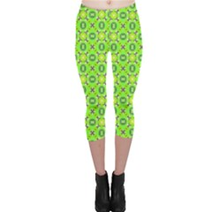 Vibrant Abstract Tropical Lime Foliage Lattice Capri Leggings  by DianeClancy