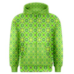 Vibrant Abstract Tropical Lime Foliage Lattice Men s Zipper Hoodie by DianeClancy