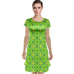 Vibrant Abstract Tropical Lime Foliage Lattice Cap Sleeve Nightdress by DianeClancy