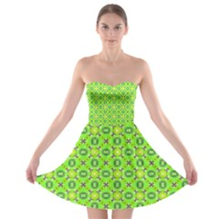 Vibrant Abstract Tropical Lime Foliage Lattice Strapless Dresses by DianeClancy