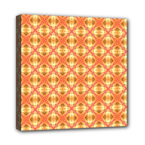 Peach Pineapple Abstract Circles Arches Mini Canvas 8  X 8  by DianeClancy