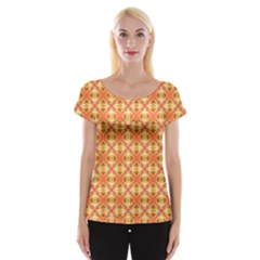 Peach Pineapple Abstract Circles Arches Women s Cap Sleeve Top by DianeClancy