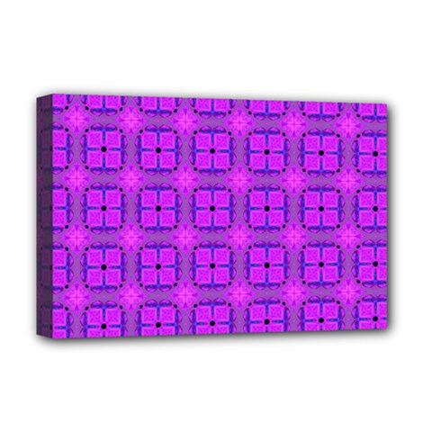 Abstract Dancing Diamonds Purple Violet Deluxe Canvas 18  X 12   by DianeClancy