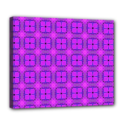 Abstract Dancing Diamonds Purple Violet Deluxe Canvas 24  X 20   by DianeClancy