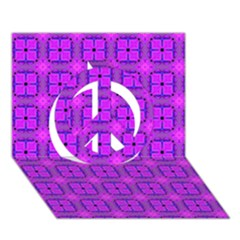 Abstract Dancing Diamonds Purple Violet Peace Sign 3d Greeting Card (7x5)  by DianeClancy