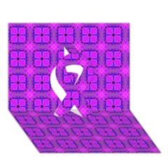 Abstract Dancing Diamonds Purple Violet Ribbon 3d Greeting Card (7x5)