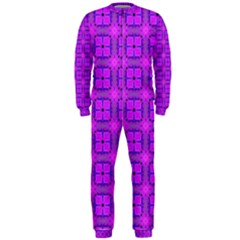 Abstract Dancing Diamonds Purple Violet Onepiece Jumpsuit (men)  by DianeClancy