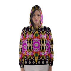 Flowers Above And Under The Peaceful Sky Hooded Wind Breaker (women)