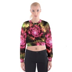 Red Peony Women s Cropped Sweatshirt