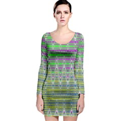 Colorful Zigzag Pattern Long Sleeve Bodycon Dress by BrightVibesDesign