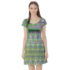 Colorful Zigzag Pattern Short Sleeve Skater Dress by BrightVibesDesign