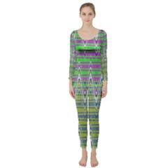 Colorful Zigzag Pattern Long Sleeve Catsuit by BrightVibesDesign