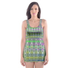 Colorful Zigzag Pattern Skater Dress Swimsuit by BrightVibesDesign