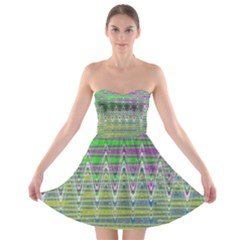 Colorful Zigzag Pattern Strapless Dresses by BrightVibesDesign
