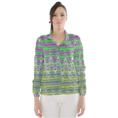 Colorful Zigzag Pattern Wind Breaker (women) by BrightVibesDesign