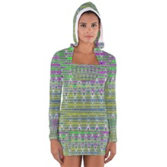 Colorful Zigzag Pattern Women s Long Sleeve Hooded T Shirt by BrightVibesDesign