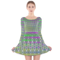 Colorful Zigzag Pattern Long Sleeve Velvet Skater Dress by BrightVibesDesign