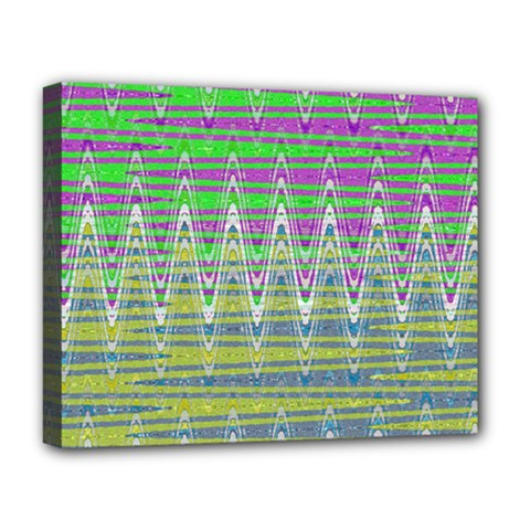 Colorful Zigzag Pattern Deluxe Canvas 20  X 16   by BrightVibesDesign