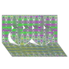 Colorful Zigzag Pattern Twin Hearts 3d Greeting Card (8x4)  by BrightVibesDesign
