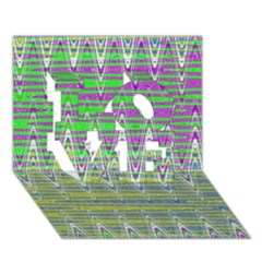Colorful Zigzag Pattern Love 3d Greeting Card (7x5)  by BrightVibesDesign
