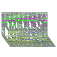 Colorful Zigzag Pattern Merry Xmas 3d Greeting Card (8x4)  by BrightVibesDesign