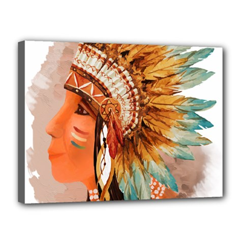 Native American Young Indian Shief Canvas 16  X 12  by TastefulDesigns