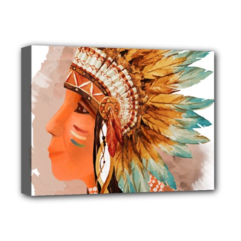 Native American Young Indian Shief Deluxe Canvas 16  X 12   by TastefulDesigns