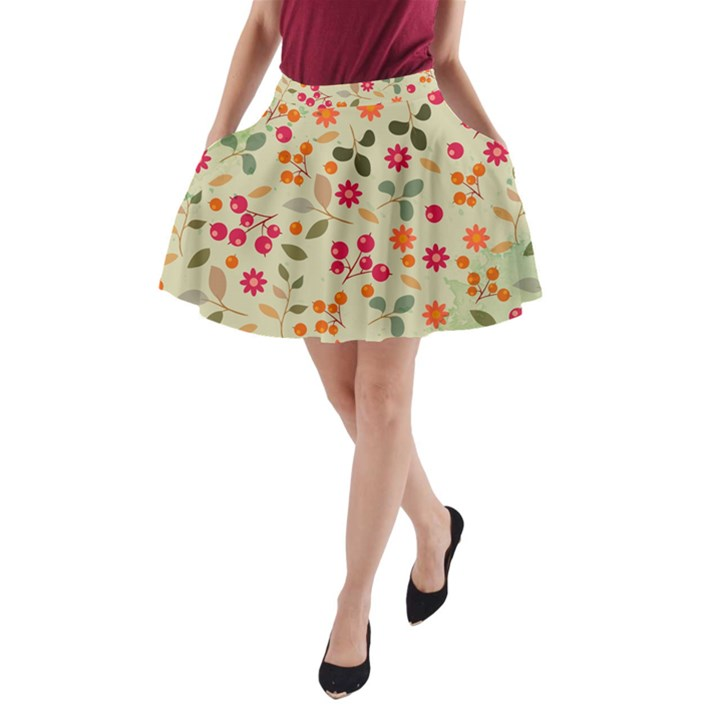 Elegant Floral Seamless Pattern A-Line Pocket Skirt