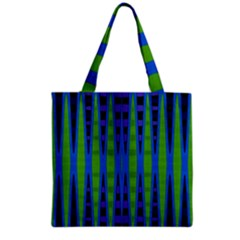 Blue Green Geometric Grocery Tote Bag