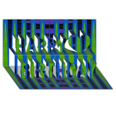 Blue Green Geometric Happy Birthday 3d Greeting Card (8x4)