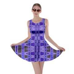 Blue Black Geometric Pattern Skater Dress