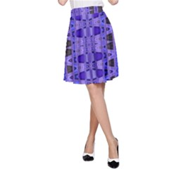 Blue Black Geometric Pattern A Line Skirt