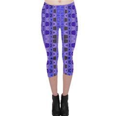 Blue Black Geometric Pattern Capri Leggings
