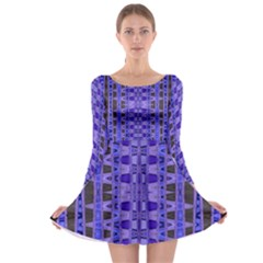 Blue Black Geometric Pattern Long Sleeve Skater Dress by BrightVibesDesign