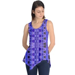 Blue Black Geometric Pattern Sleeveless Tunic