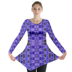 Blue Black Geometric Pattern Long Sleeve Tunic  by BrightVibesDesign