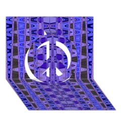 Blue Black Geometric Pattern Peace Sign 3d Greeting Card (7x5)  by BrightVibesDesign
