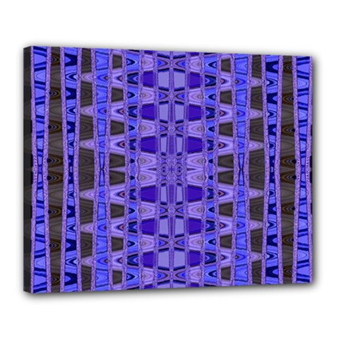 Blue Black Geometric Pattern Canvas 20  X 16