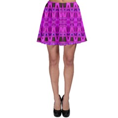 Bright Pink Black Geometric Pattern Skater Skirt by BrightVibesDesign