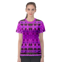 Bright Pink Black Geometric Pattern Women s Sport Mesh Tee